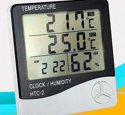 clock LCD digital display Hygrometer humidity out/indoor thermometer meter gauge