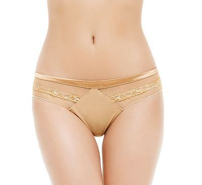 La Perla Paisley Collection M Thong Nude Gold Silk Tulle New