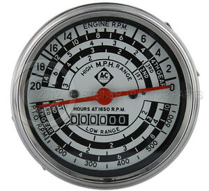 ALLIS-CHALMERS-NEW-D14-D15-D17-I-40-I-400-TACHOMETER-GAS-w-AC-LOGO