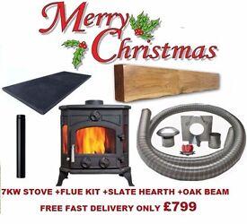 PACKAGE DEAL !!! multi fuel stoves flexible flue liner slate hearth oak stove beam fireplace boiler