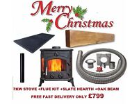 PACKAGE DEAL !!! multi fuel stoves flexible flue liner slate hearth oak stove beam fireplace boiler