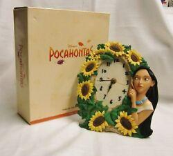 THE DISNEY STORE POCOHONTAS CERAMIC TABLE CLOCK YELLOW SUNFLOWERS -ORIGINAL BOX