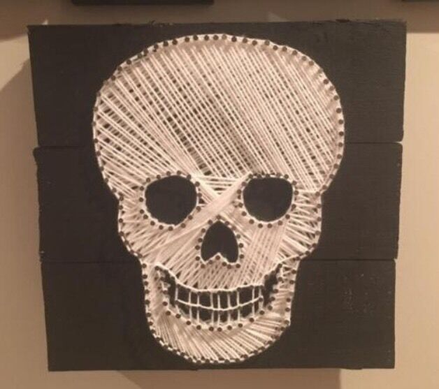Skull Wall ArtCan Deliverin Scone, Perth and KinrossGumtree - Skull Nail & Wool Art on Solid WoodVery Good ConditionComes With LightsSizes 30 X 30cm£40Can DeliverText 07491280835