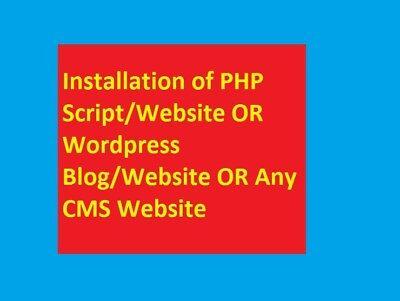 Installation Of Php Scriptwebsite Or Wordpress Blogwebsite Or Any Cms Website