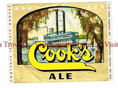 Unused 1950s INDIANA Evansville COOK'S ALE Riverboat 12oz Label