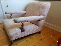 Pair antique Victorian low armchairs howard style Chairs