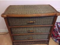 Asian Style Cane Rattan Chest of 3 Drawers Dresser