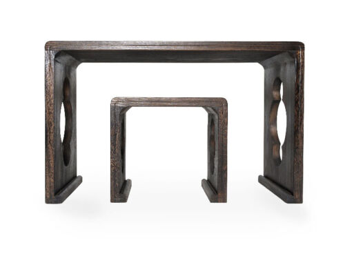 ONE-BODY STYLE PAULOWNIA WOOD GUQIN TABLE/STOOL SET -- 一體式燒桐木古琴桌椅套裝