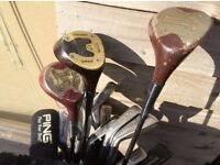 Set of golf clubs, right handed, adult size with bag, 2 lots sparate or together, ideal for start up
