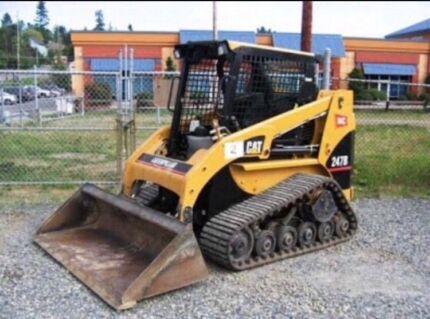 Bobcat excavator rock breaking truck hire artificial turf