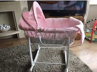 Immaculate White Wicker Moses basket and White Rocking Stand for baby Girl