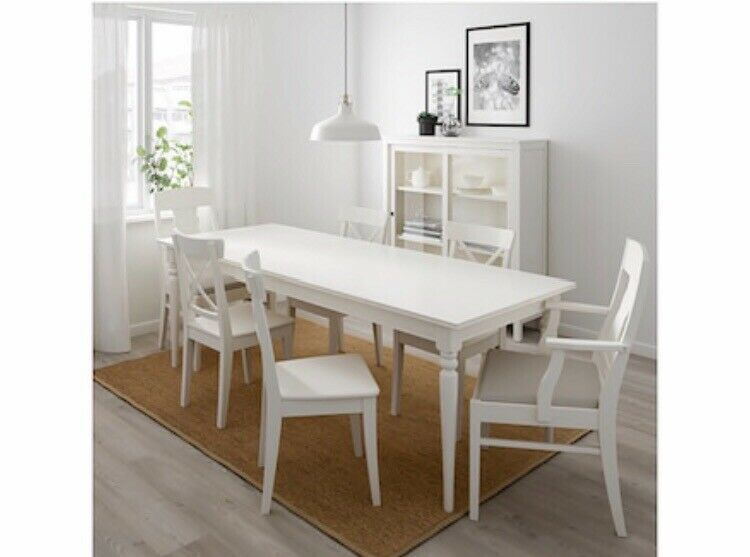 Ikea Ingatorp Extendable Table White 155 215 X 87cm With 6 Chairs Cm