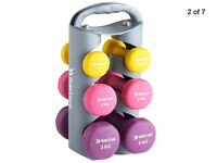 Gold Coast dumbbell weights set 2x 1KG 2x 2KG 2x 3KG w/portable stand & neoprene grip