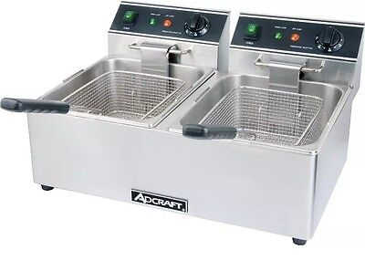 Electric Counter Top Deep Fryer Dual Pot 15lb Per Pot