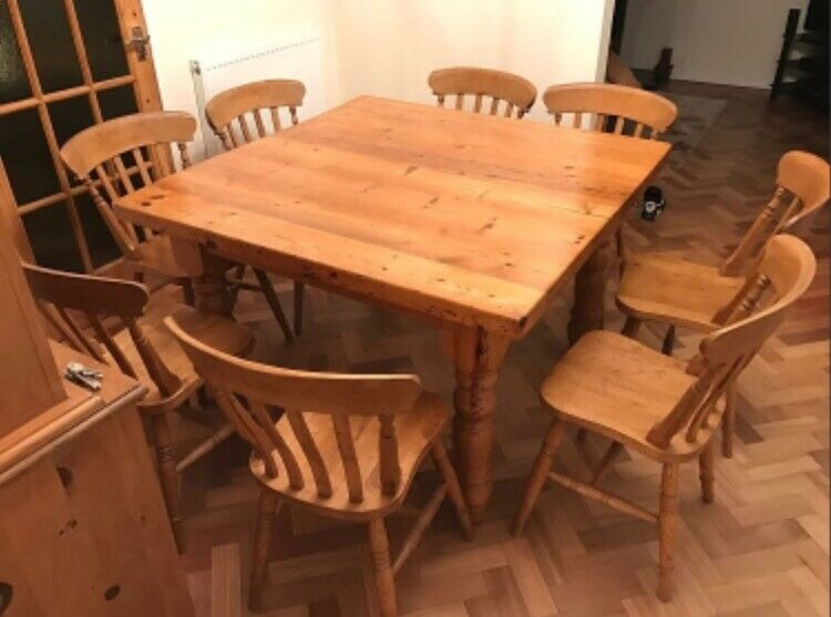 Stunning 4 FT Square Antique Pine Dining Table (thick Top) With 8 SOLID OAK