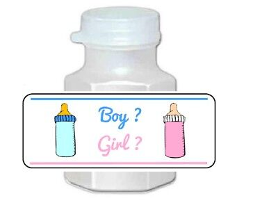 30 Gender Reveal Boy or Girl Pink and Blue Baby Shower Bubble Labels Stickers (Boy Or Girl Baby Shower)