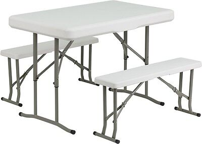 Indoor or Outdoor Plastic Folding Table and Benches Set