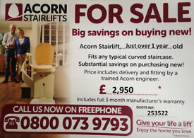 Acorn Stairlift - just 1 year old, fitted by manufacturer, full 3 month warranty