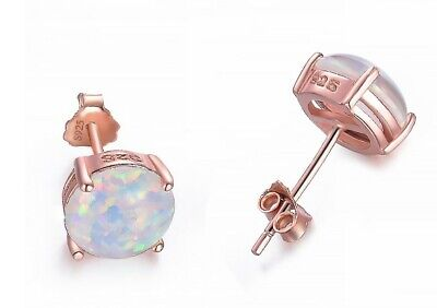 925 Sterling silver Created Opal 8mm Round White Stud Earrings Gift Box PE26