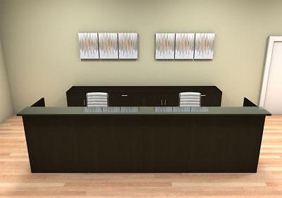 2pc 12 Feet Modern Glass Counter Reception Desk Set Ch-amb-r14