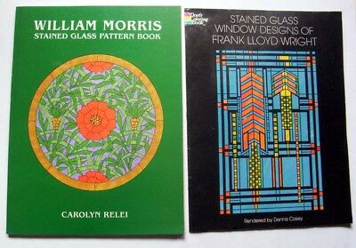 Lot 2 Stain Glass Books: Frank Lloyd Wright Patterns & William Morris (Frank Lloyd Wright Stained Glass Window Patterns)