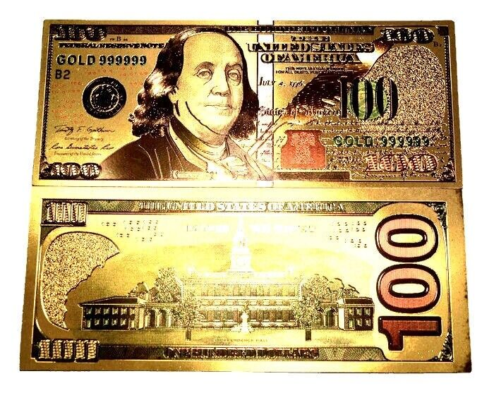 NEW STYLE 999999 24K GOLD $100 BILL US BANKNOTE IN PROTECTIVE SLEEVE FREE S&H