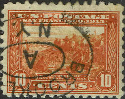 #404 1915 10c PANAMA-PACIFIC PERF 10 ISSUE USED--BROOKLYN,N.Y. HANDSTAMP CANCEL