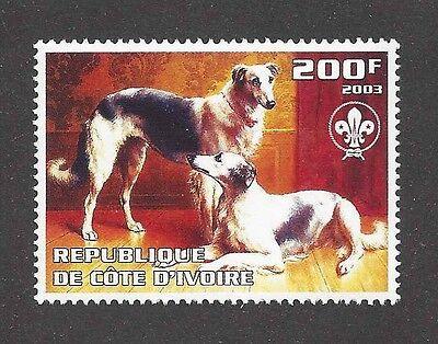 Dog Art Portrait Postage Stamp BORZOI RUSSIAN WOLFHOUND Cote D'Ivoire 2003 MNH
