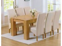 Trend Solid Oak Chunky Dining Table With 6 Cream Leather Chairs - Free Delivery In Southampton
