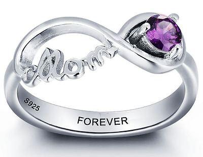 - Custom Sterling Silver Birthstone Infinity MOM Mother's Ring