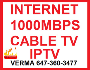 UNLIMITED INTERNET $35 , INTERNET CABLE TV PHONE IPTV