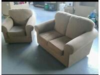Small light brown sofa and chair