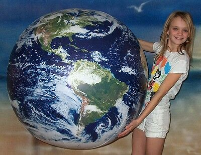 "48"" Inflatable ASTRONAUTS VIEW Earth Globe w/Clouds - Big World Beach Ball"