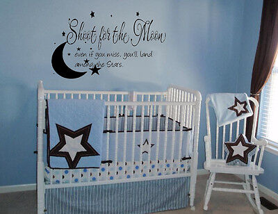 SHOOT FOR THE MOON STARS  VINYL DECAL WALL LETTERING WORDS BABY QUOTE NURSERY  on Rummage