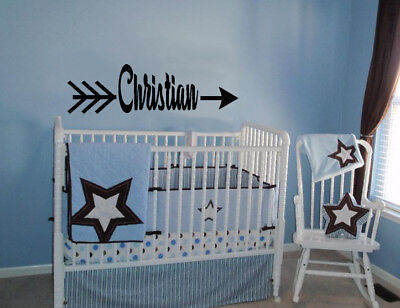 (CHILD PERSONALIZED NAME ARROW VINYL WALL DECAL LETTERING NURSERY STICKER DECOR )