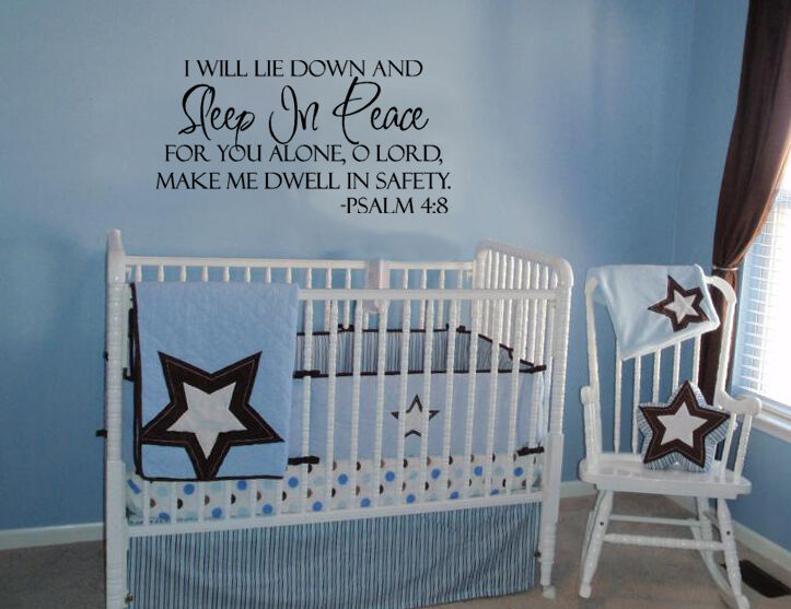 SLEEP IN PEACE PSALM 4:8 BIBLE VERSE LETTERING WALL DECAL