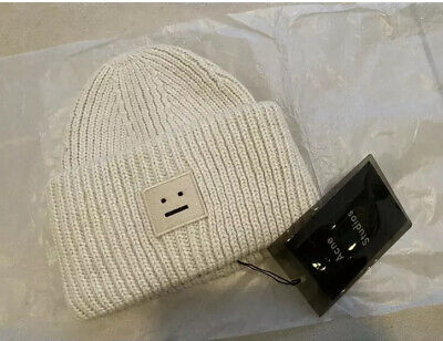 NEW Acne Studio Pansy S face Ribbed Wool knit hat cap hat (Last One White!)