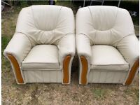 Set of 2 New Cream Leather Sofa Chairs £75 *Collection Only*