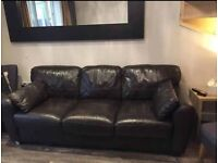 Brown leather 3 seater sofa- local delivery possible