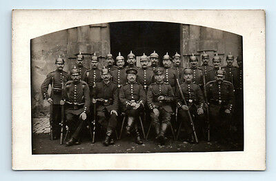 Antique WW1 GERMAN Real Photo RPPC Postcard SOLDIER Pickelhaube Helmet RIFLE
