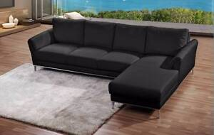Marlene 4 seater with chaise black leather couch sofa RRP $3600 Queenstown Port Adelaide Area Preview