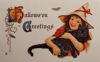 HALLOWEEN Greetings JACK-O-LANTERN Design Girl Black Cat Vintage REPRO Postcard