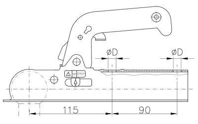 Winterhoff WW8-H Kupplung 750 kg. (Vierkant 70 mm) - Zugkugelkupplung Anhänger
