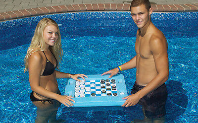 Swimline 91450 Swimming Pool Spa Floating Multi-Game Gameboard Chess Board Game