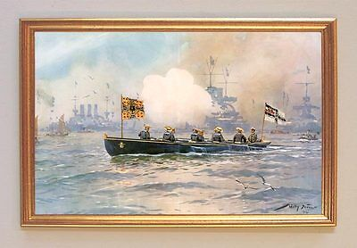 Kaiser Wilhelm II begibt sich an Bord der Hohenzollern Gemälde Stöwer 77 LW
