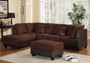 LARGE SECTIONAL SOFA W/ FREE STORAGE OTTOMAN - CLEARANCE