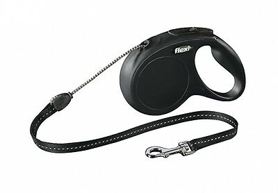 LEASH RETRACTABLE FLEXI NEW CLASSIC ROPE XS BLACK DOG/CAT 9 10/12ft