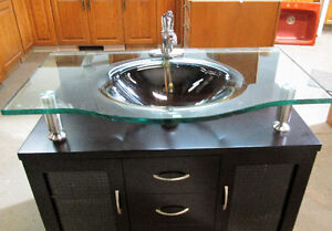 Mocha Colored Bathroom Sink with Glass Vessel Sink & Mirror