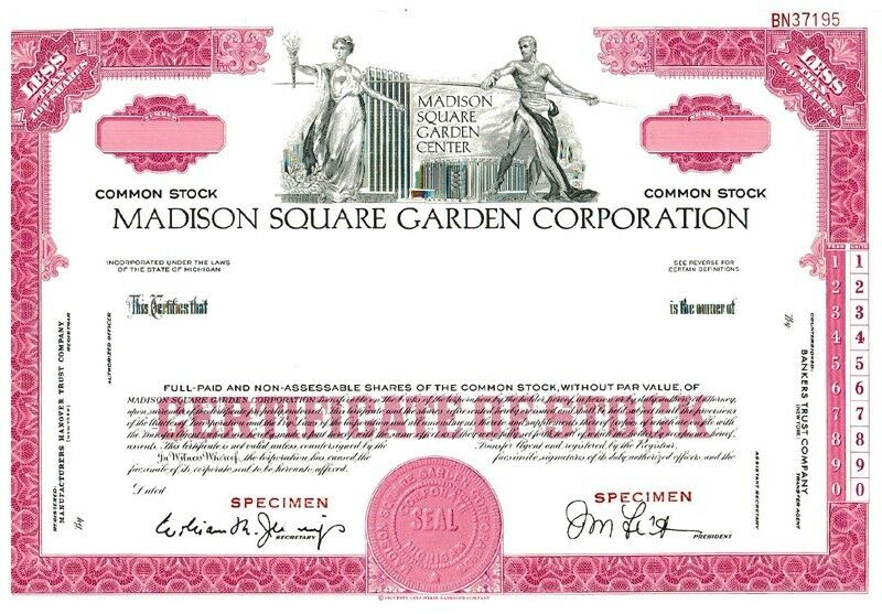 Madison Square Garden SPECIMEN Stock Certificate (PINK) very rare