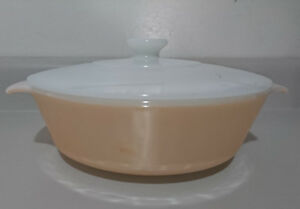 Anchor Hocking Fire King Peach Luster Covered Casserole Dish